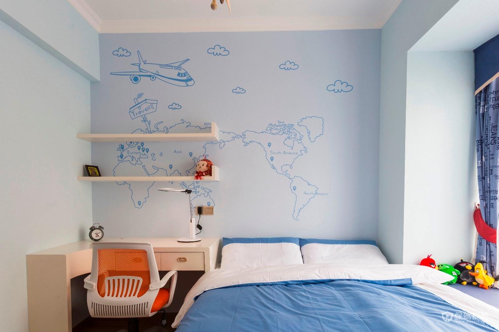 天藍色兒童房裝修效果圖-保駕護航裝修網