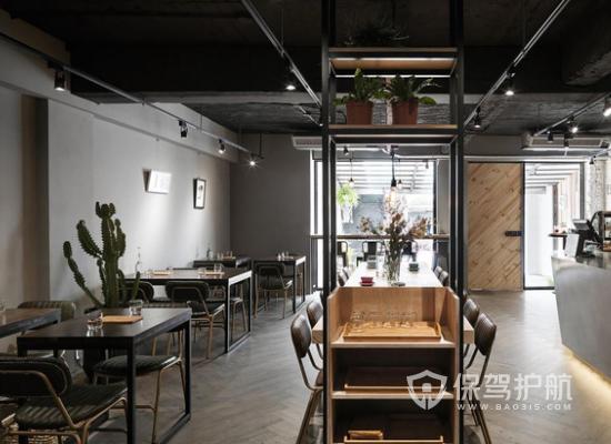 简约复古风格咖啡店桌椅摆放效果图
