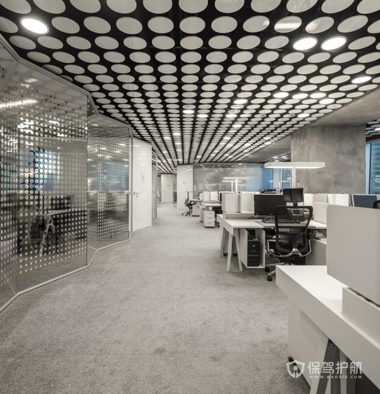 灰色调办公室办公区装修效果图