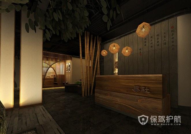 日式中国风美容院前台装修效果图