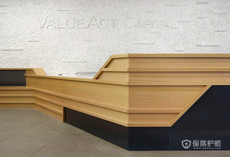 原木风格办公室前台装修效果图