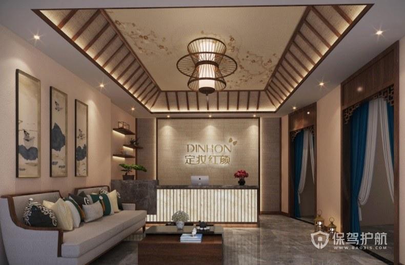 新中式古典风美容院大厅装修效果图