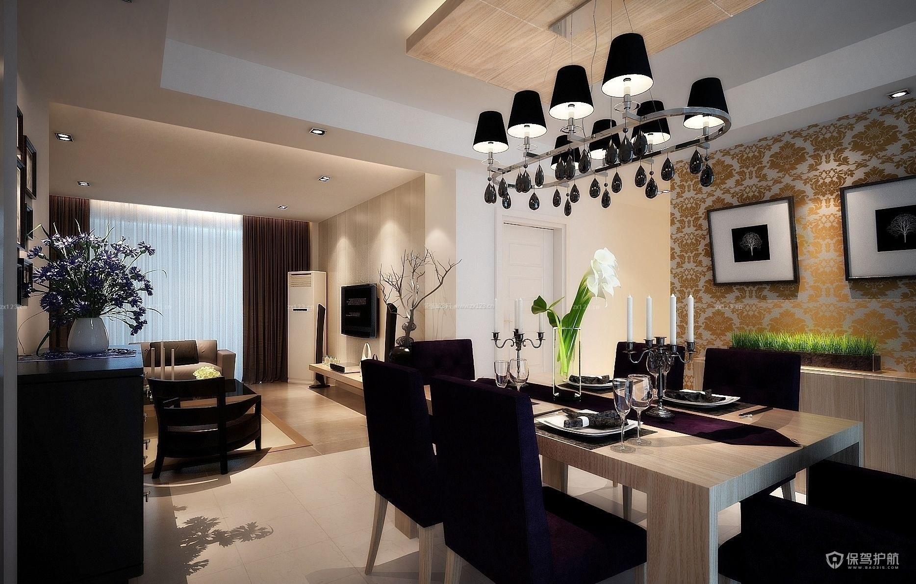 现代奢华餐厅客厅一体装修效果图