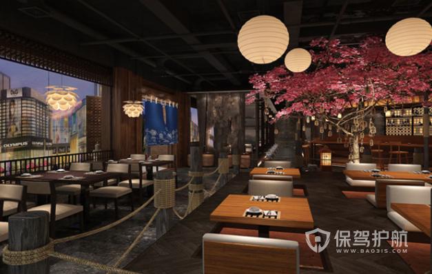 日式唯美中国风料理店装修效果图