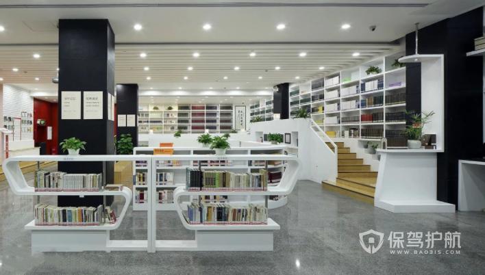 现代极简小清新图书馆装修效果图