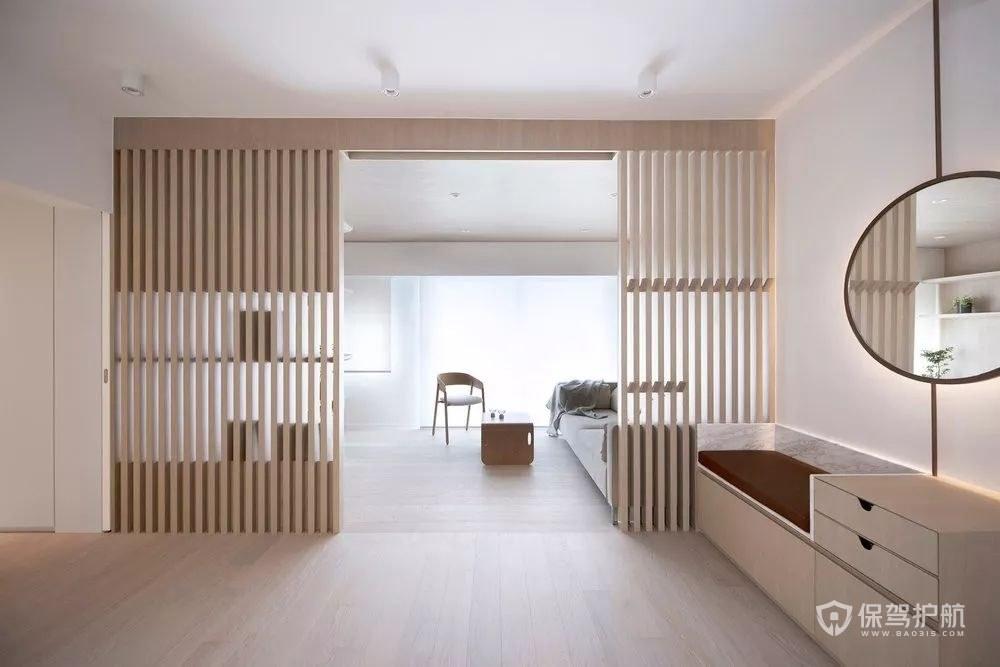 长方形户型原木风格装修图