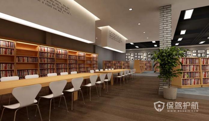 现代简约创意环保图书馆装修效果图