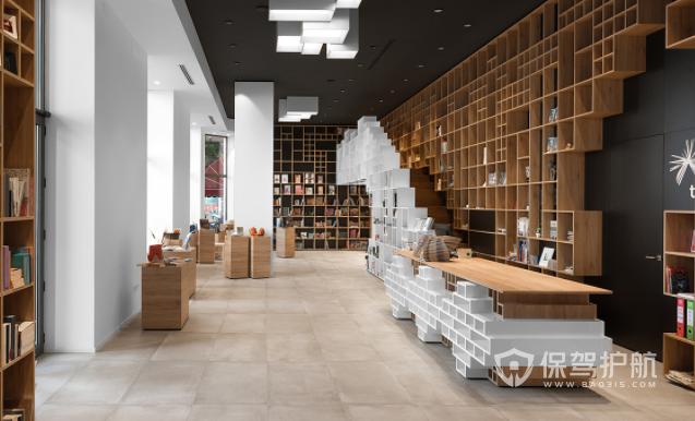 现代创意工业风图书馆装修效果图