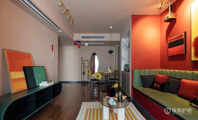 10平米小客厅暖色混搭装修效果图