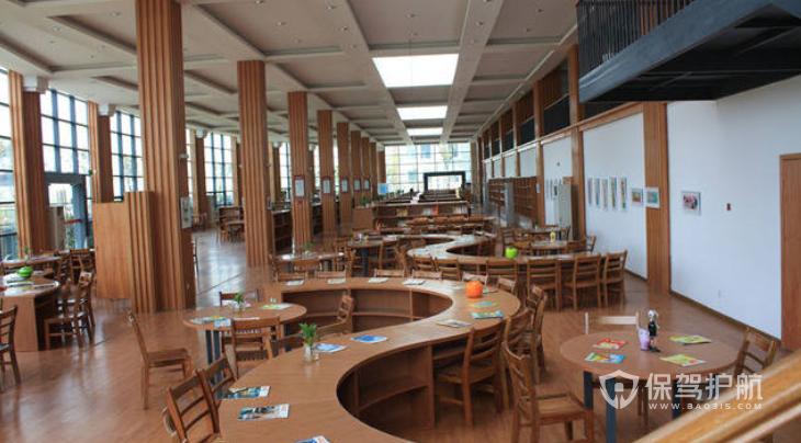 日式原木风学校图书馆装修效果图