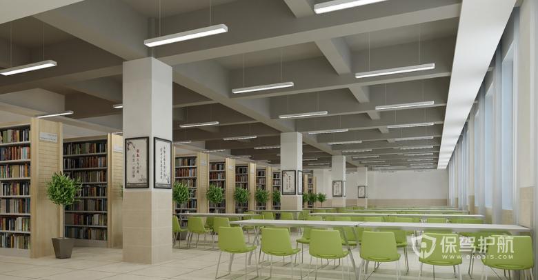 简约小清新风学校图书馆装修效果图