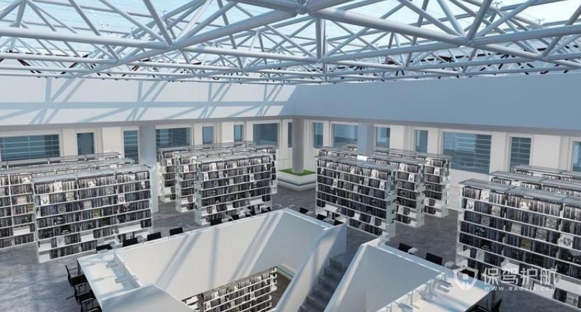现代美式工业风创意图书馆装修效果图
