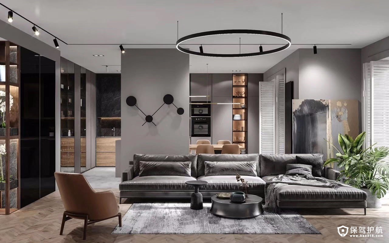 现代黑白灰风格三居室装修效果图