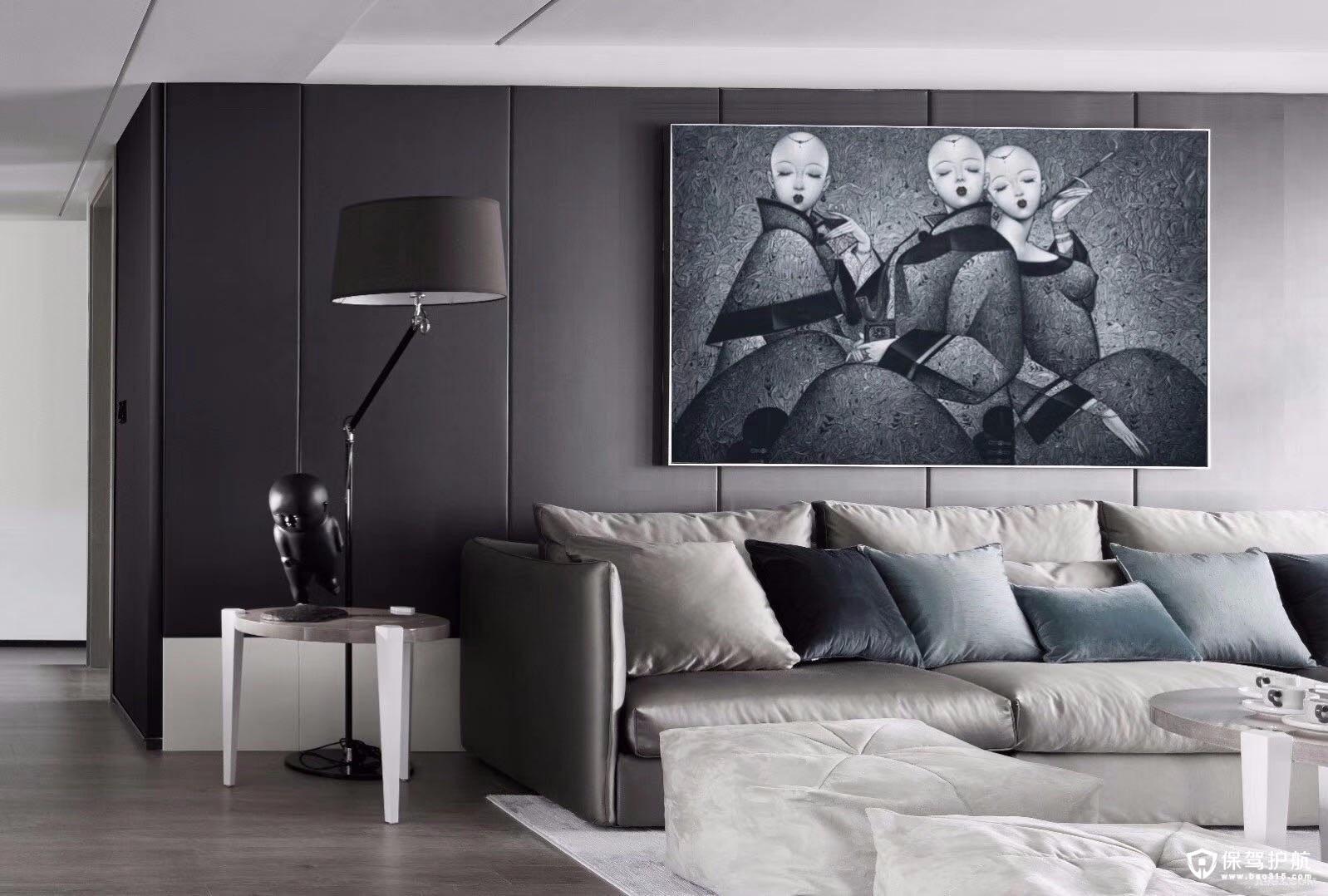 现代前卫黑白灰风格三居室装修效果图…