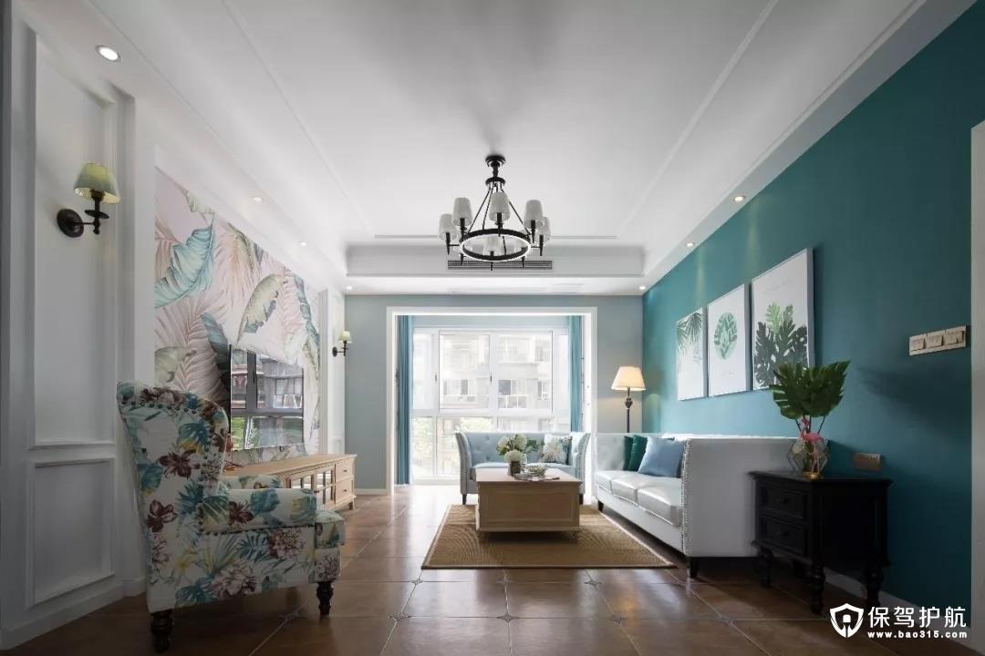 107平的美式风三居室装修效果图