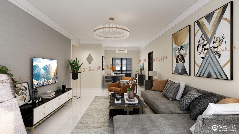 凭海临风130平三居室现代简约家装效…