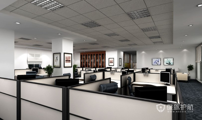 简约隔断办公室办公区装修效果图