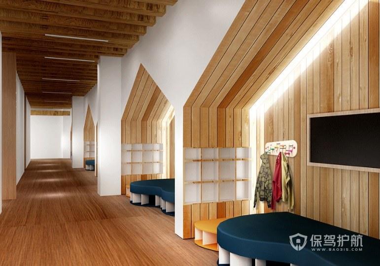 新古典简约风幼儿园走廊装修效果图