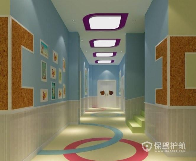 简约创意幼儿园走廊装修效果图