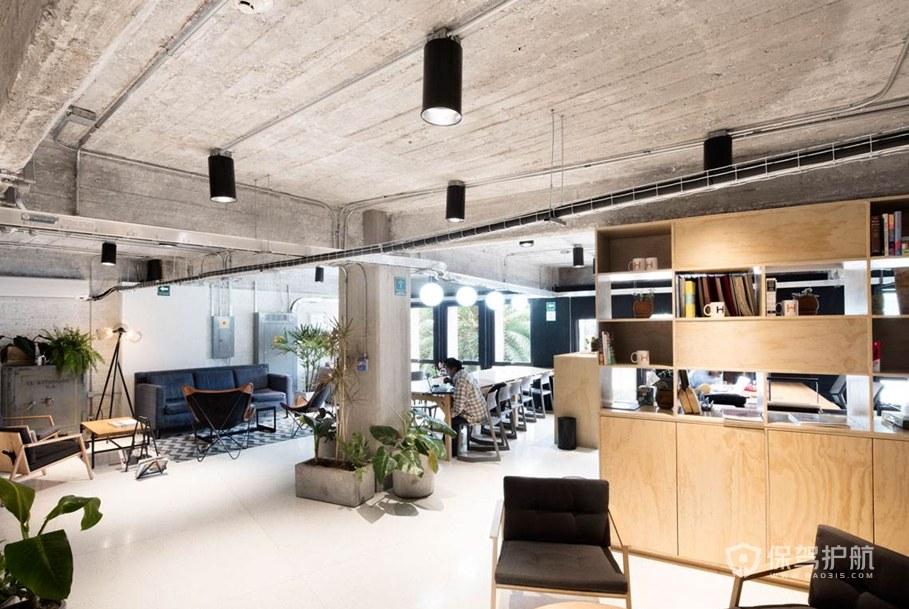 工业风格开放式办公室装修效果图