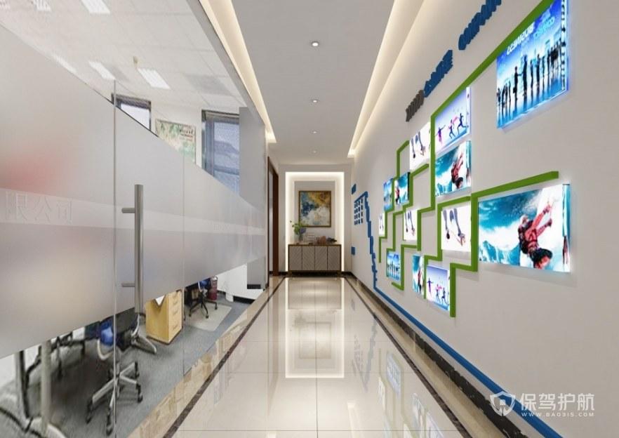 现代办公走廊文化墙装修效果图