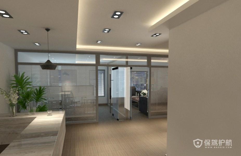 现代简约办公室前台装修效果图