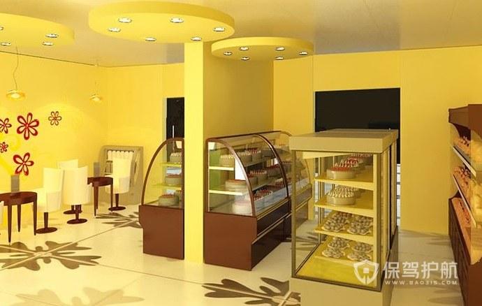 柠檬黄主题风蛋糕店墙面装修效果图