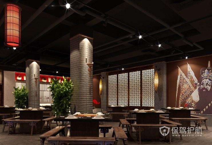 火锅店经典中国风墙绘墙面装修效果图…