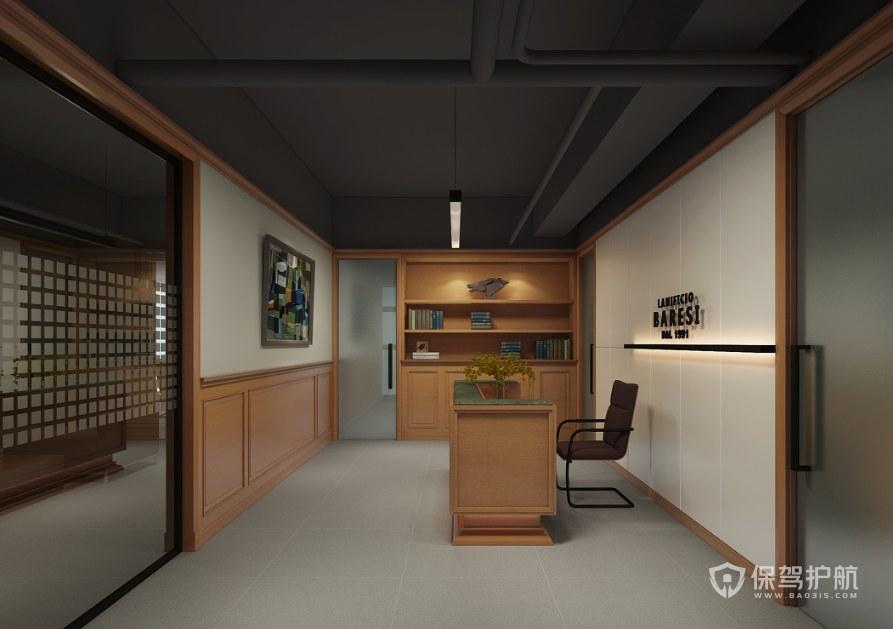 日式风格办公室前台装修效果图