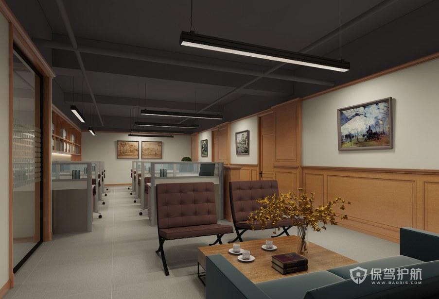 日式风格办公室接待区装修效果图