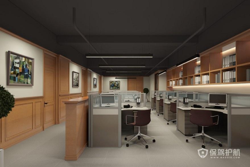 日式风格办公室办公区装修效果图