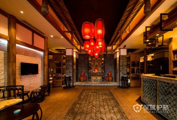 中式怀旧风火锅店墙面装修效果图