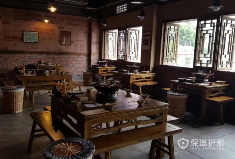 中式鄉村風火鍋店墻面裝修效果圖