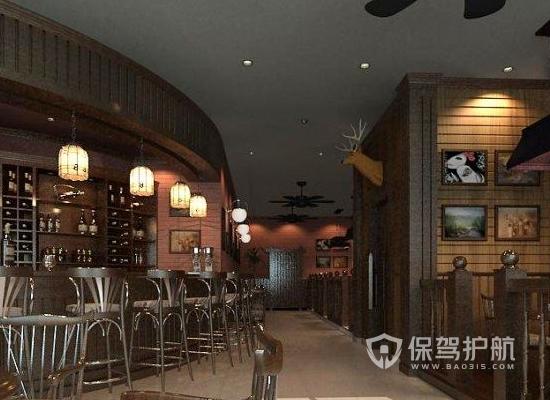 90平米复古风格酒吧吧台装修效果图