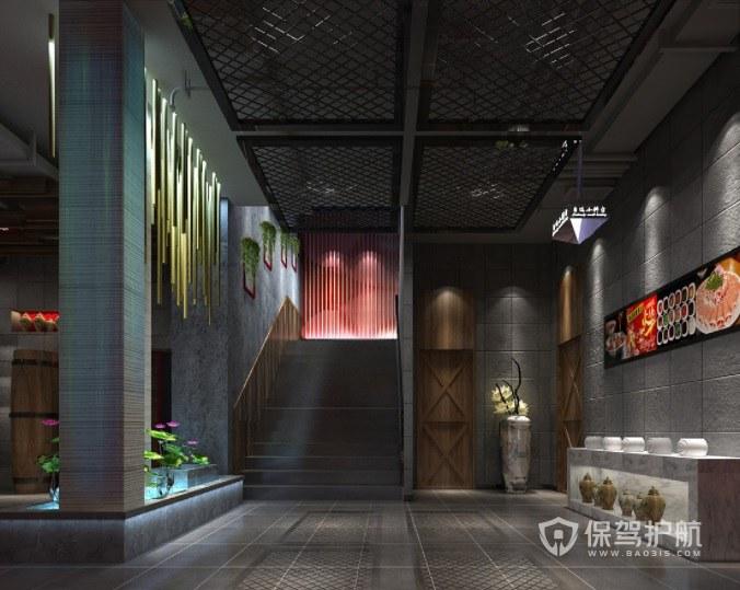 后现代高级火锅店墙面装修效果图