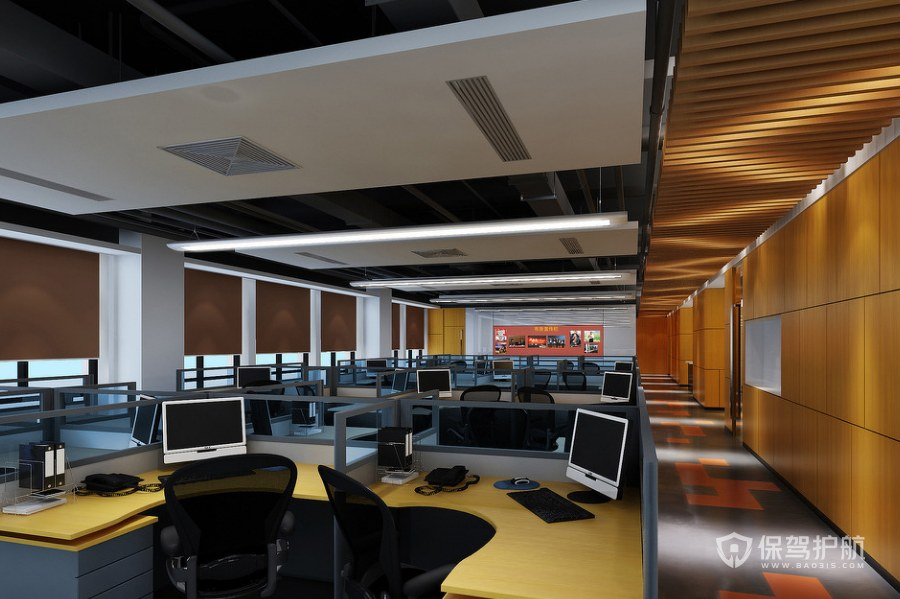 大型办公室办公区装修效果图