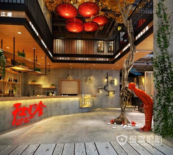 唯美日式中国风高级火锅店装修效果图