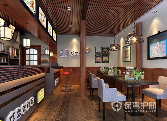 27平米原木风格奶茶店装修效果图