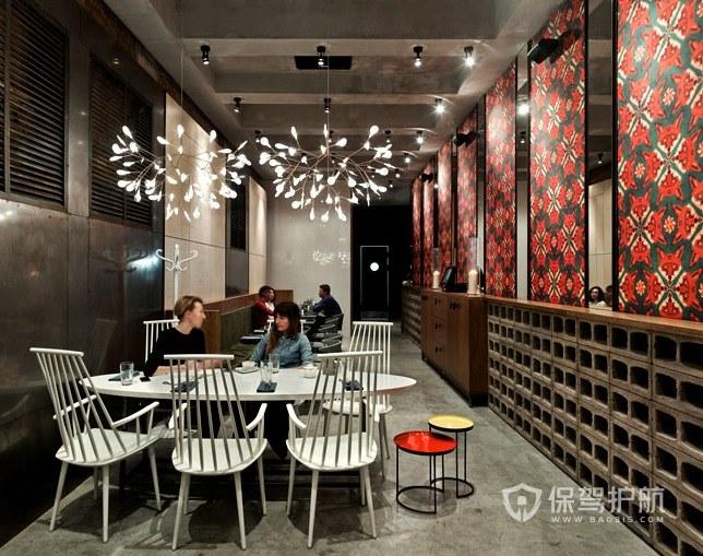 工業復古風咖啡廳創意隔斷裝修效果圖…