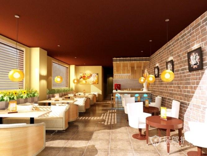 美式复古风咖啡厅墙面装修效果图