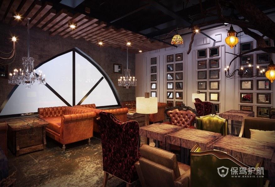 法式咖啡厅创意拱形窗户装修效果图