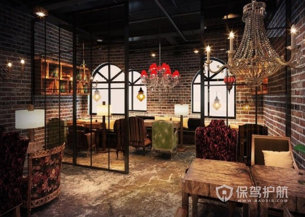 法式古典工业风咖啡厅灯饰装修效果图