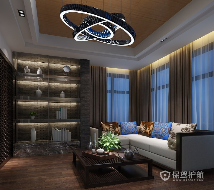 新中式混搭办公接待室装修效果图