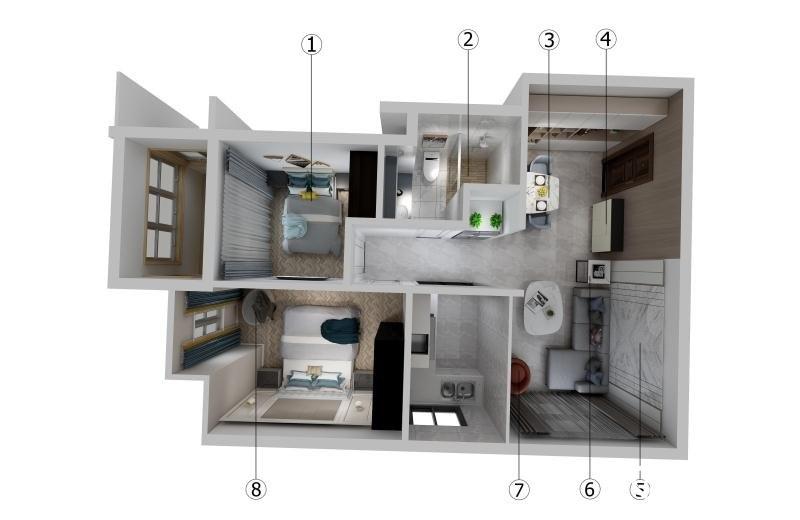 立禾楼混搭风格平层户型装修效果图