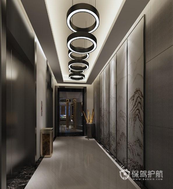 新中式风格办公室走廊装修效果图