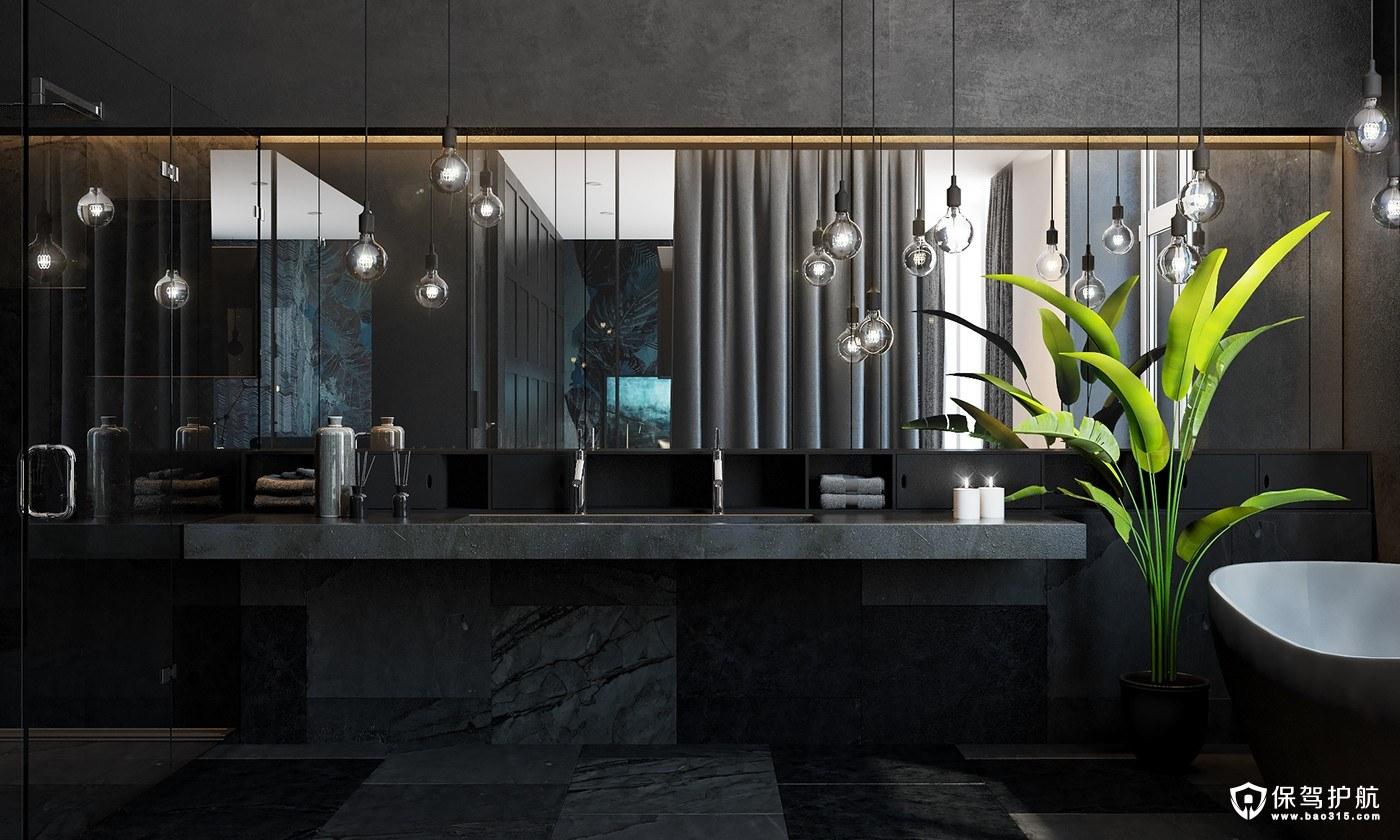 三居室黑白灰混搭风格装修装修效果图…