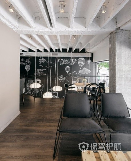美式极简风咖啡厅墙面设计效果图