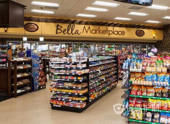 100平米美式风格小超市货架装修效果…