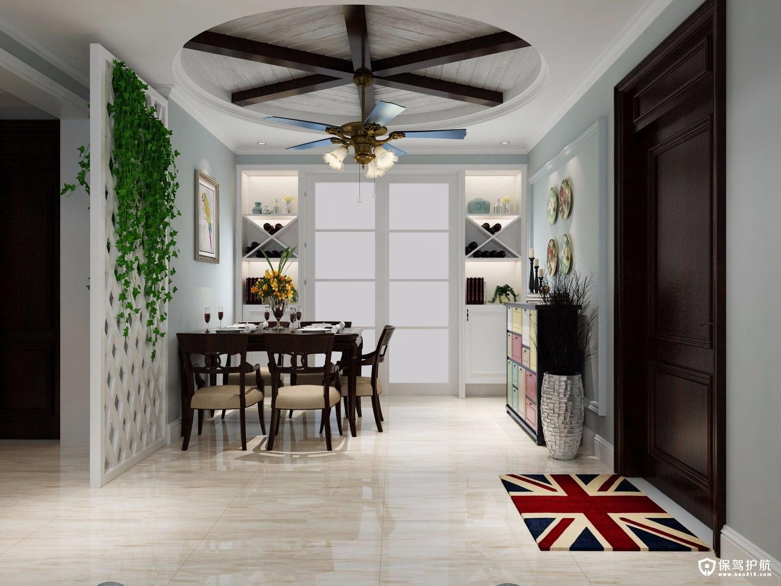 蓝色小格调现代风格三居室装修效果图
