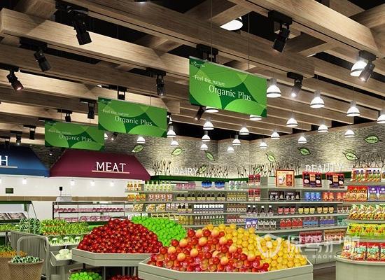 簡約原木風超市吊頂裝修效果圖